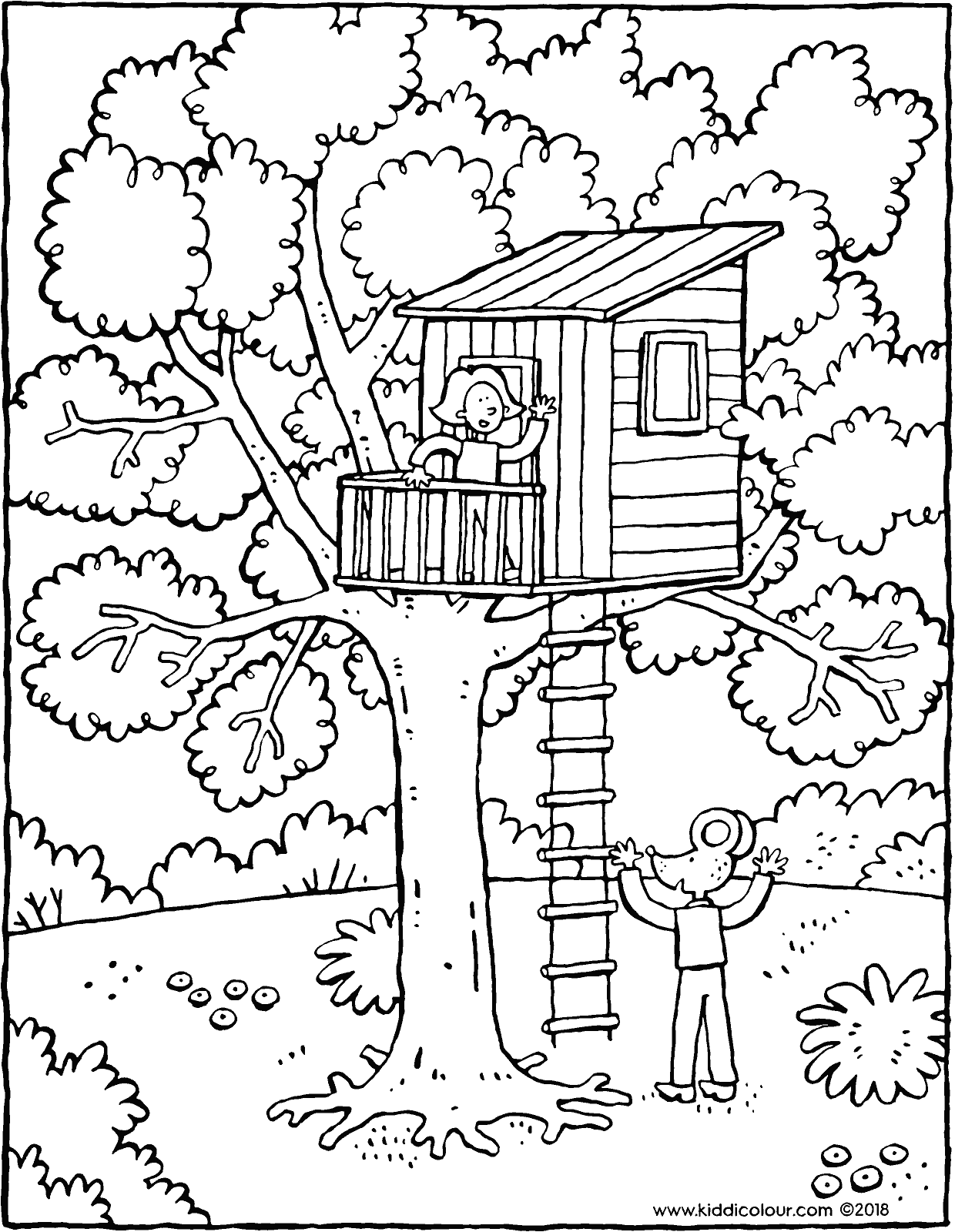 Emma and Thomas's tree house colouring page drawing picture 01V