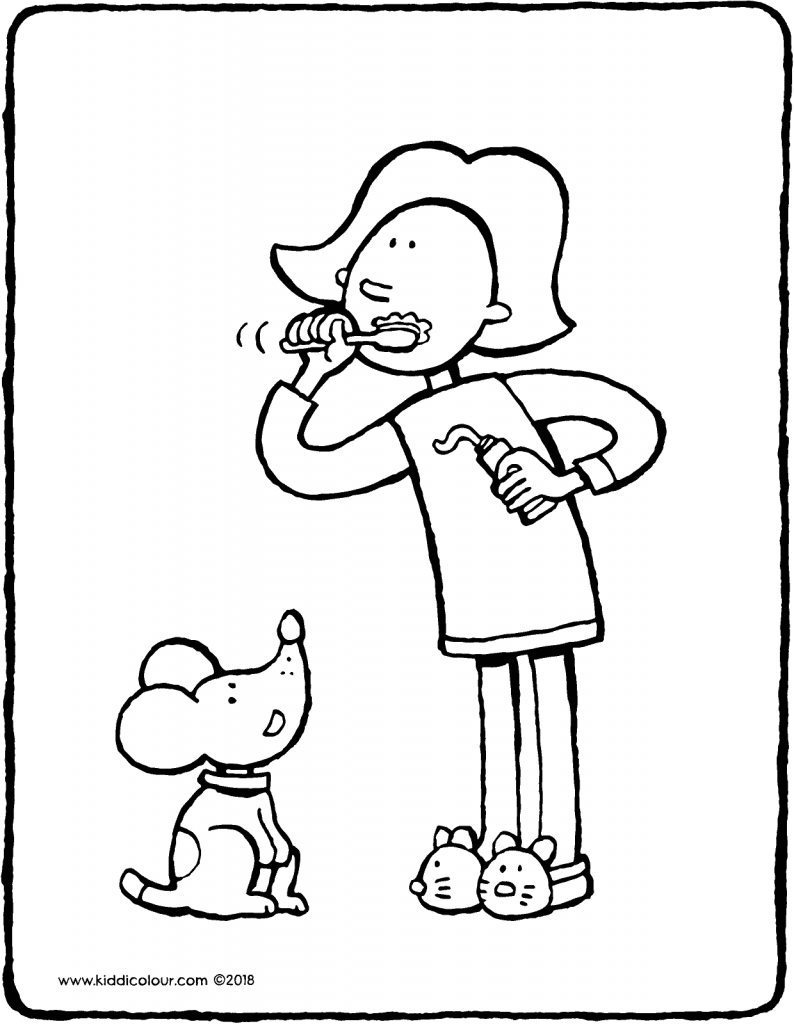 Emma brushes her teeth colouring page drawing picture 01V