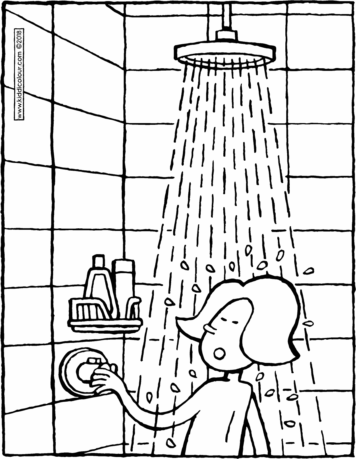 Emma takes a shower colouring page drawing picture 01V