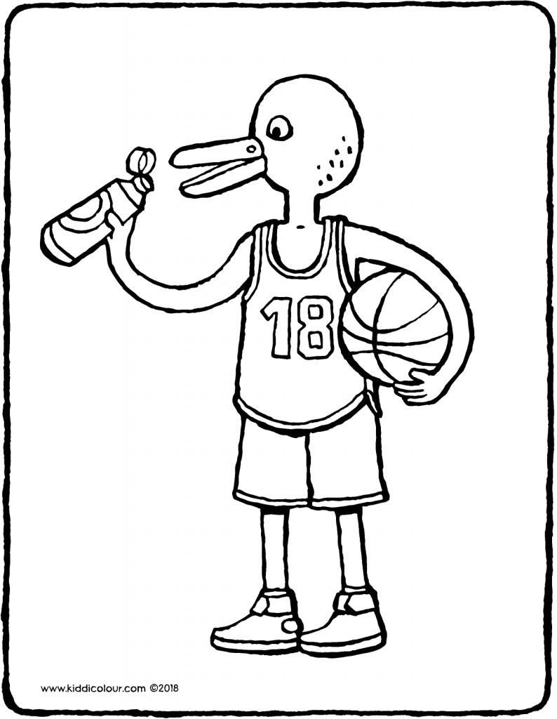 Omer plays basketball colouring page drawing picture 01V