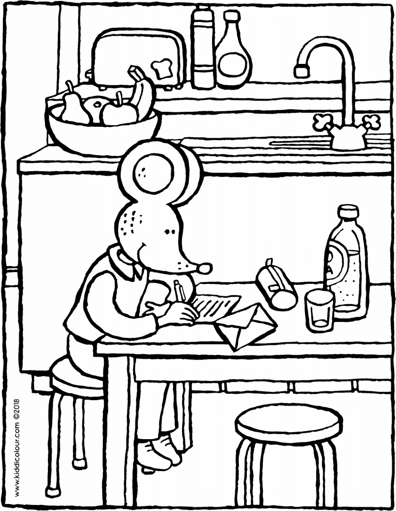 Thomas writes a letter colouring page drawing picture 01V