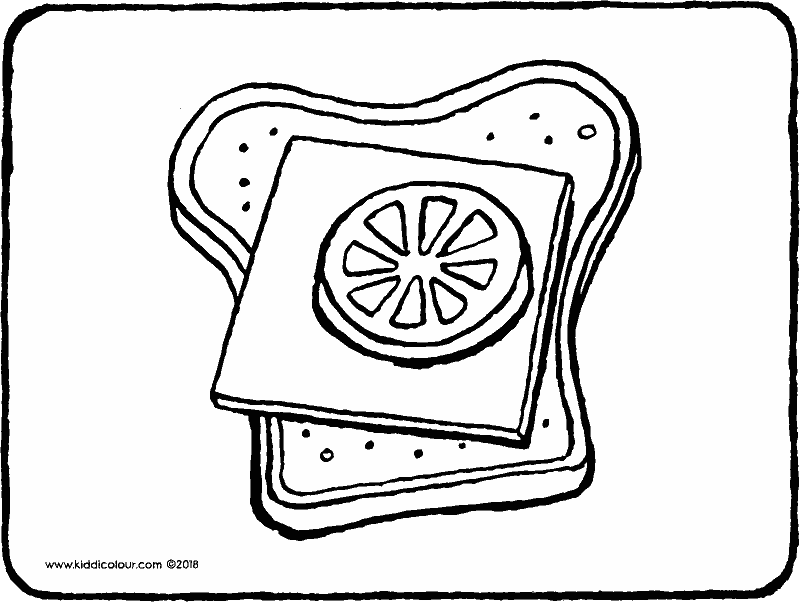 a cheese and tomato sandwich colouring page drawing picture 01k