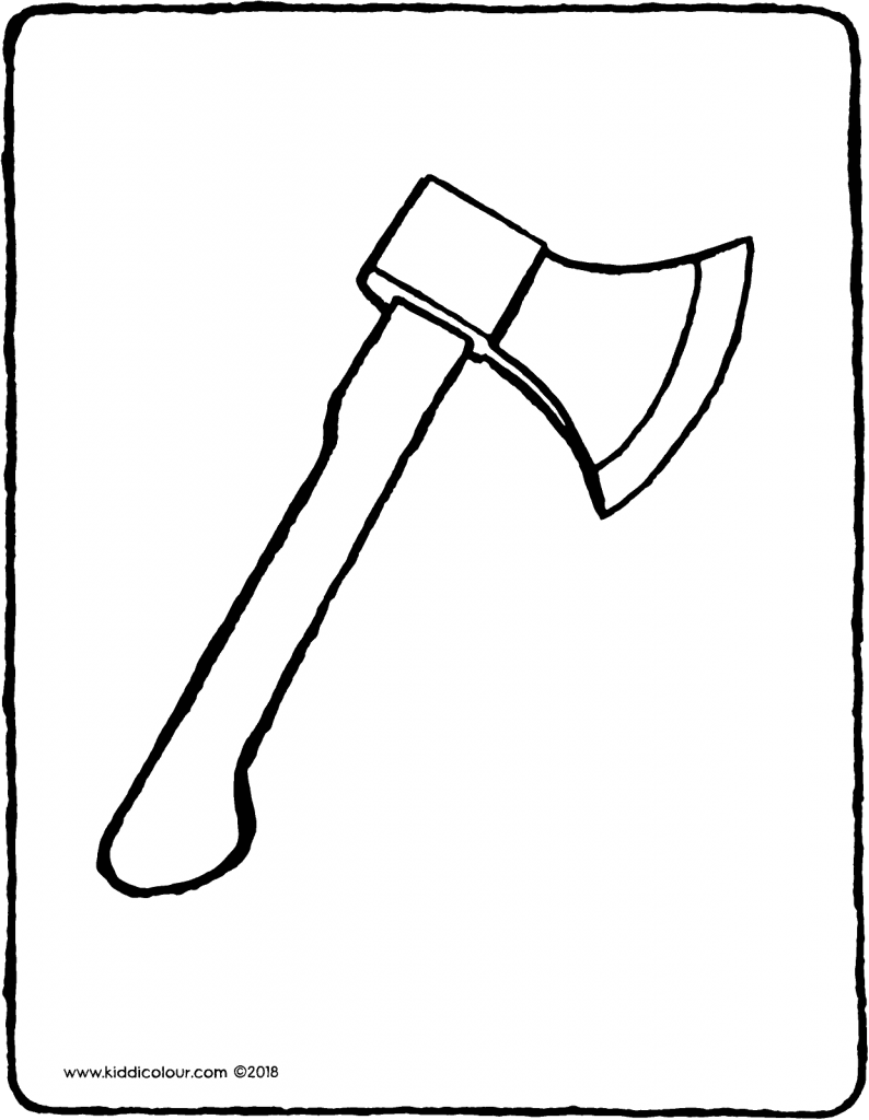 axe colouring page drawing picture 01V