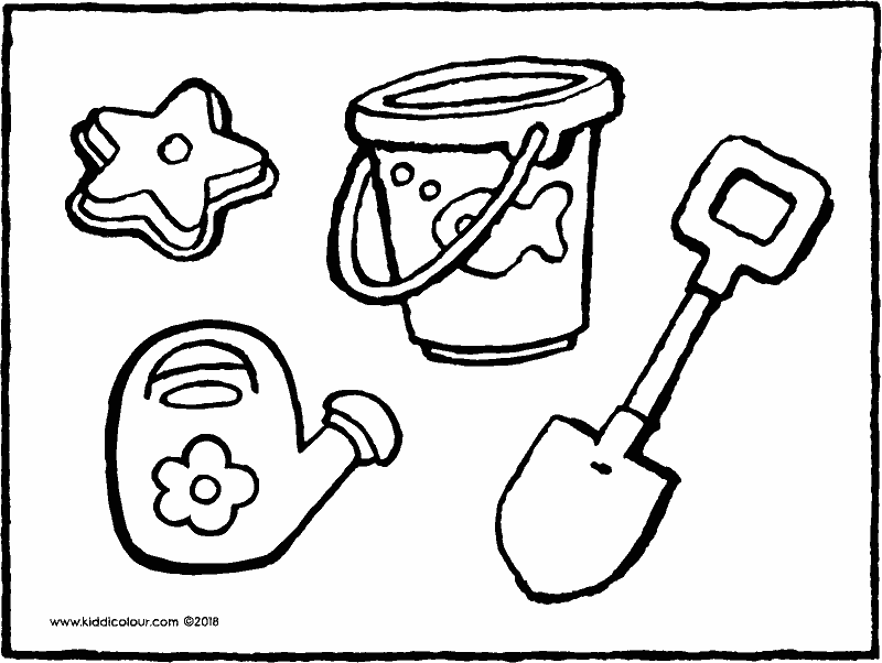 beach toys colouring page drawing picture 01k