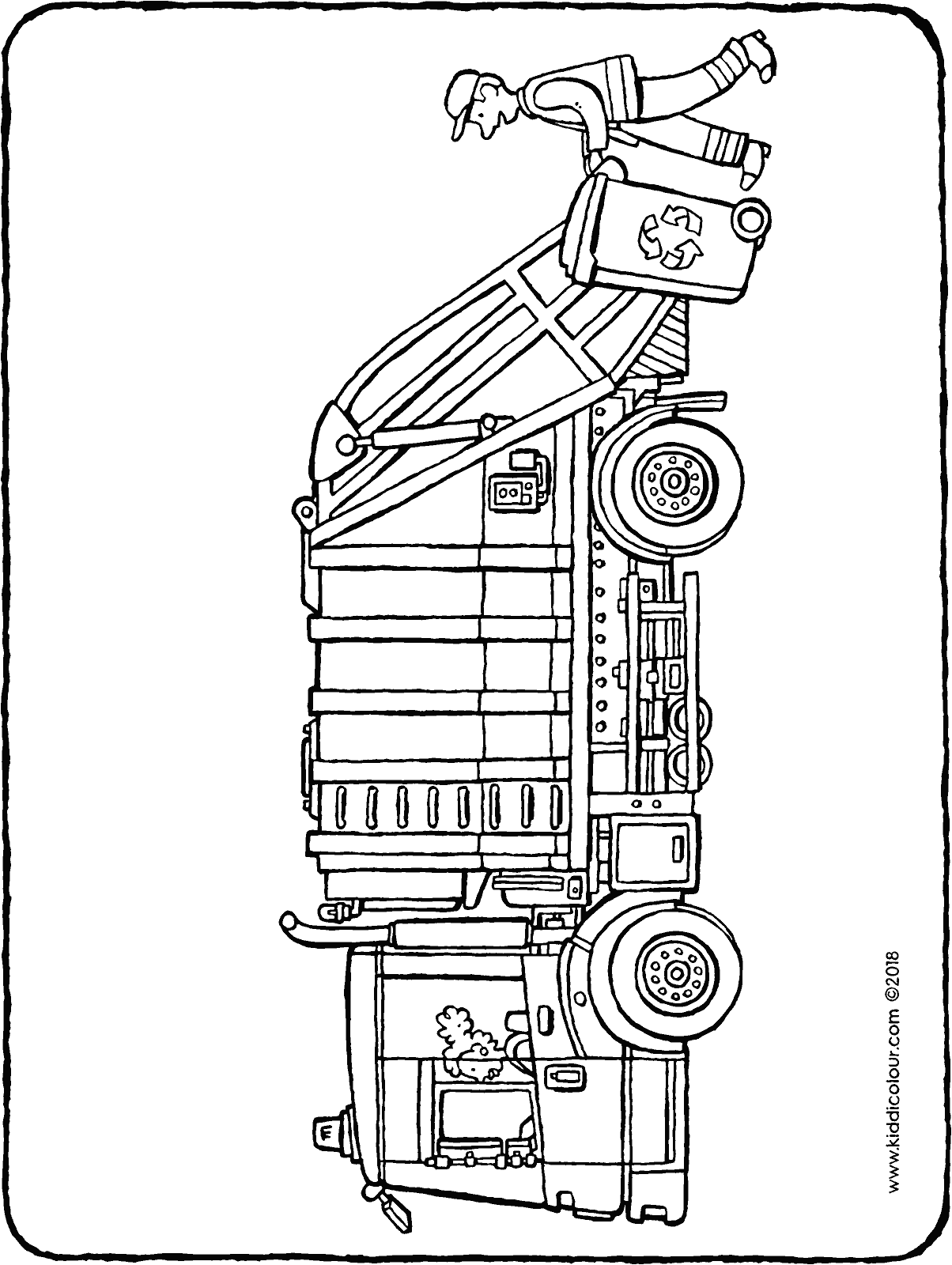 bin lorry colouring page drawing picture 01H