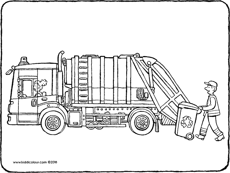 bin lorry colouring page drawing picture 01k