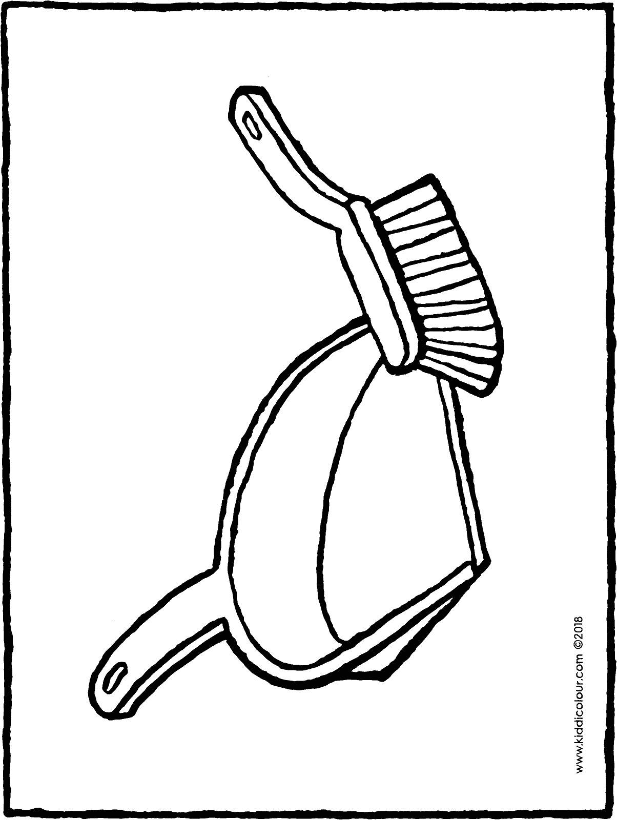 dustpan and brush colouring page drawing picture 01H