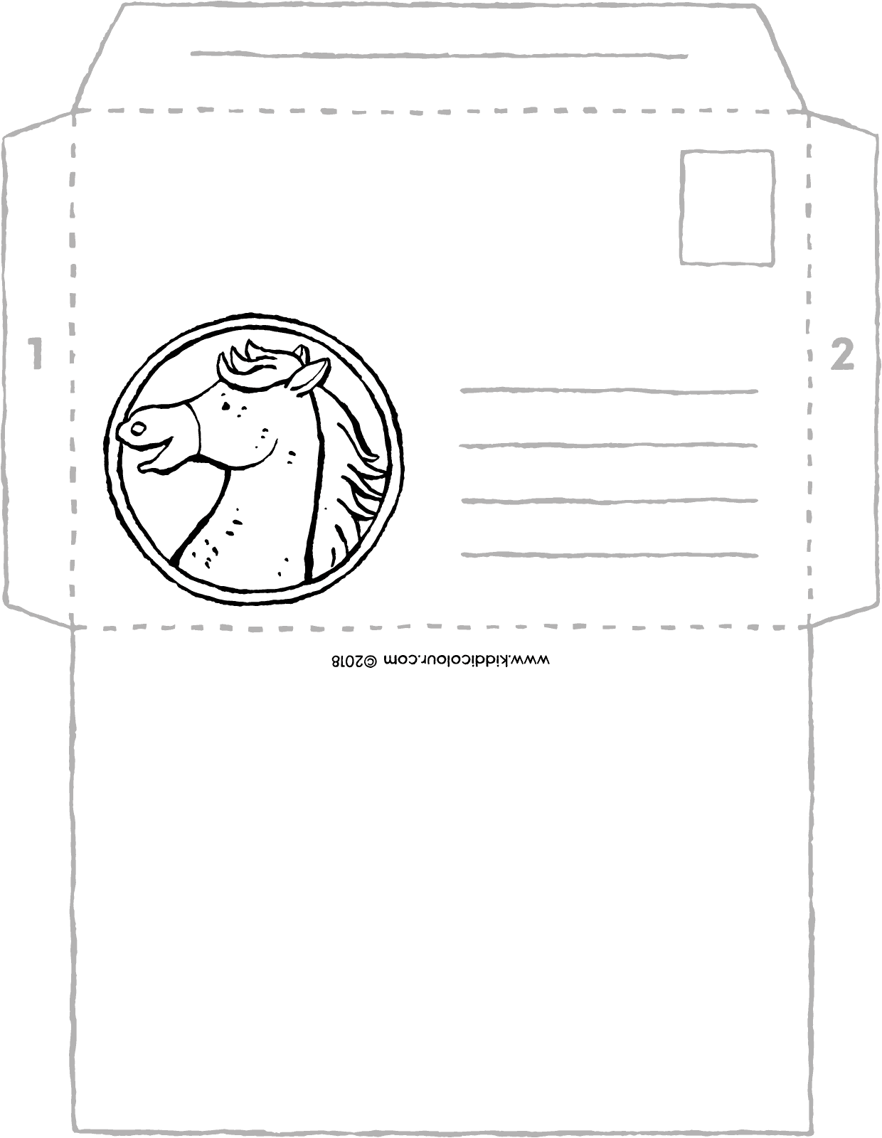envelope for horse lovers colouring page drawing picture 01V
