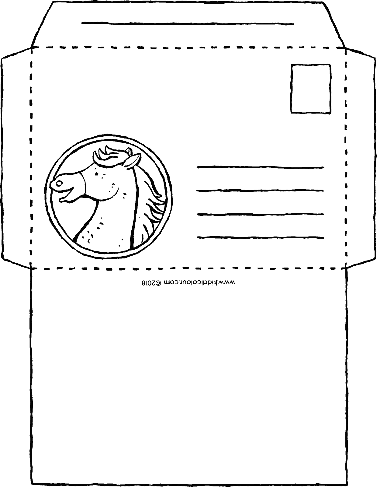 envelope for horse lovers colouring page drawing picture 01k