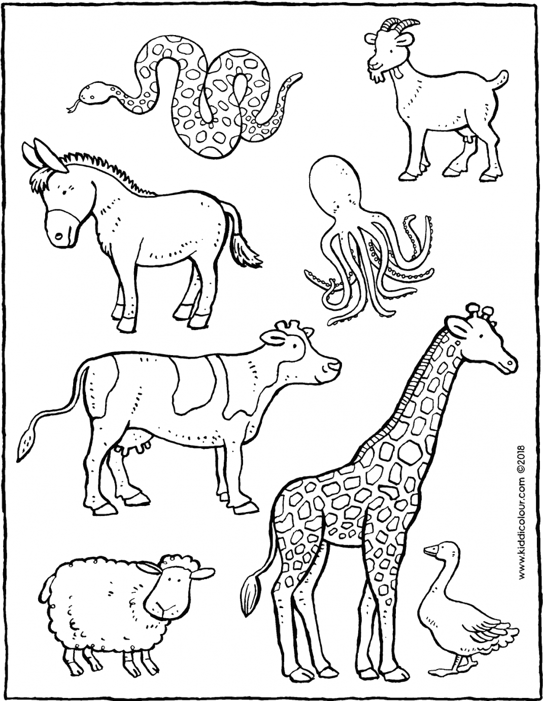 find the animals on the farm colouring page drawing picture 01V