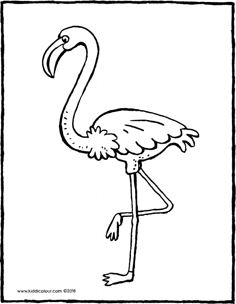 flamingo colouring page drawing picture 01V