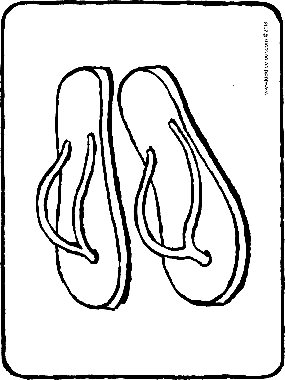 flip-flops colouring page drawing picture 01H