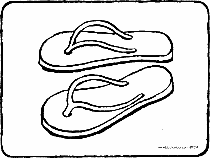 flip-flops colouring page drawing picture 01k