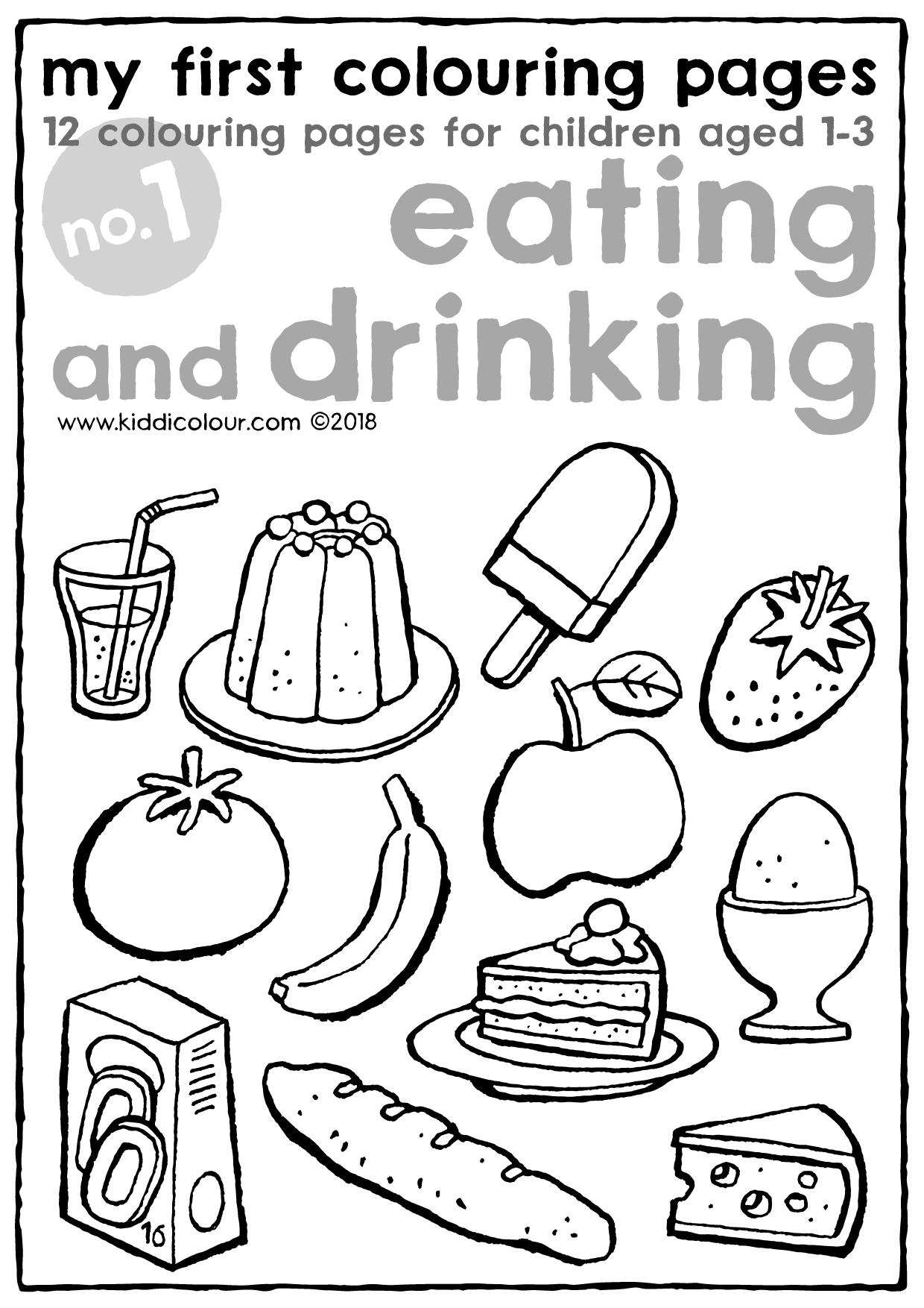 my first colouring pages no. 1: eating and drinking