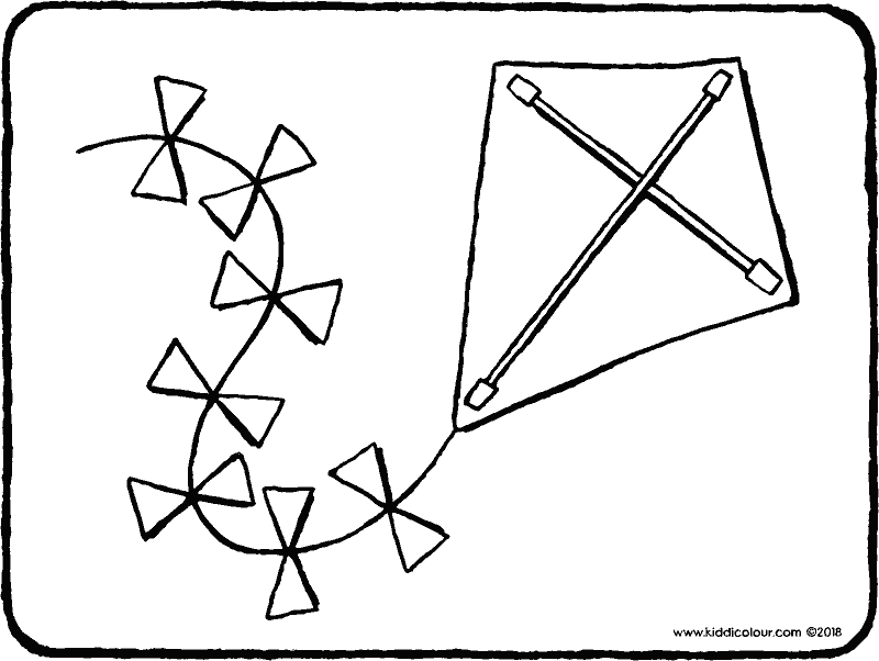 kite colouring page drawing picture 01k