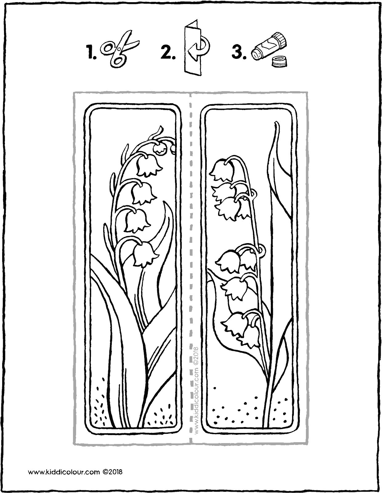 lilies of the valley bookmark colouring page drawing picture 01V