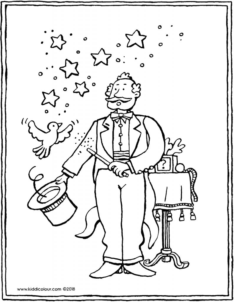 magician colouring page drawing picture 01V