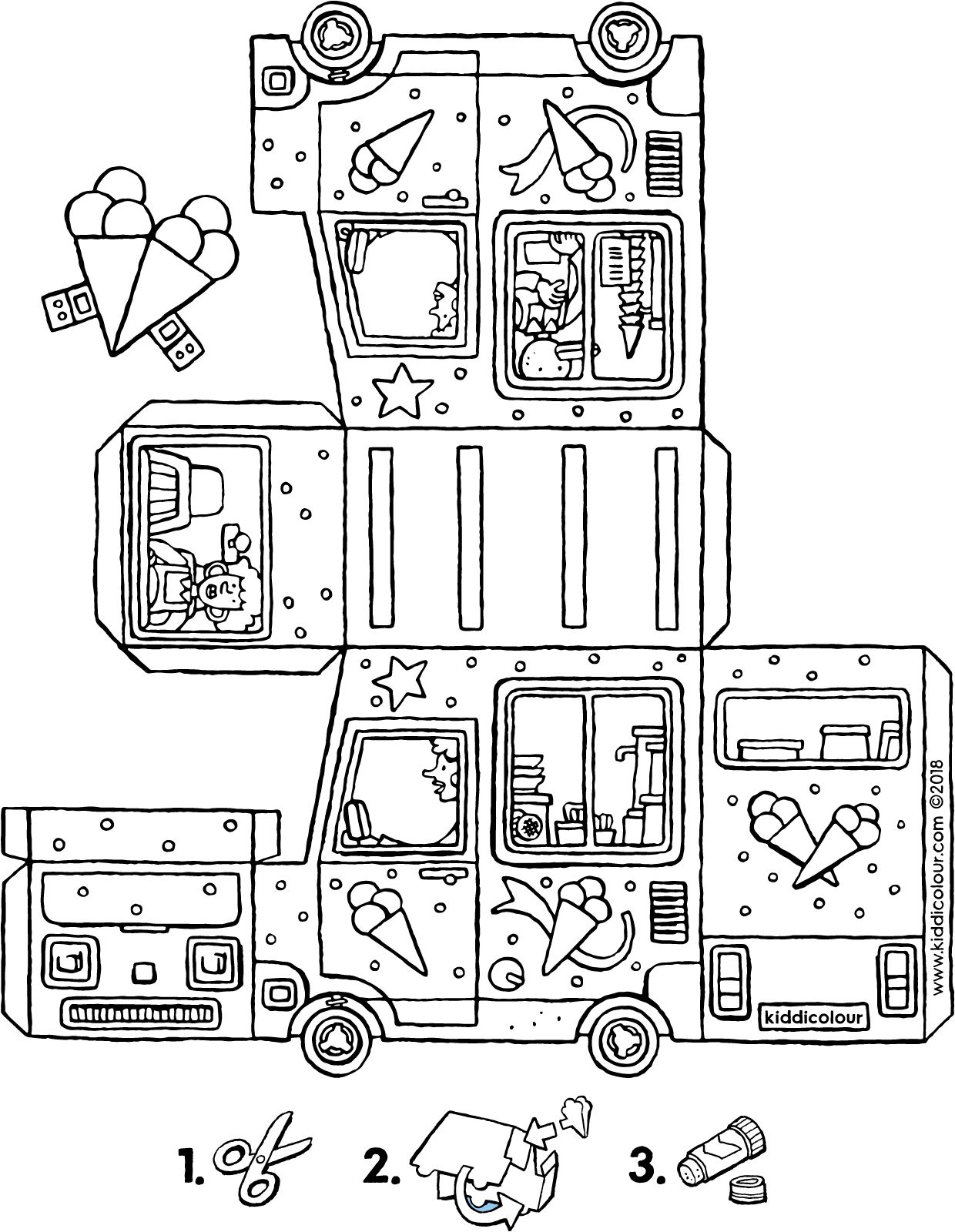make your own ice cream van colouring page drawing picture 01V