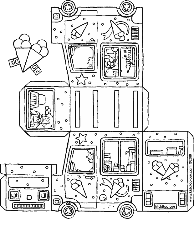 make your own ice cream van colouring page drawing picture 01k
