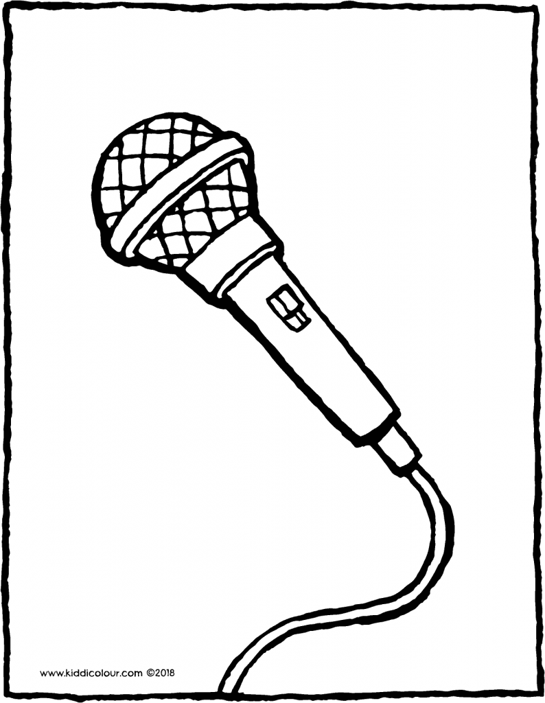 microphone colouring page drawing picture 01V