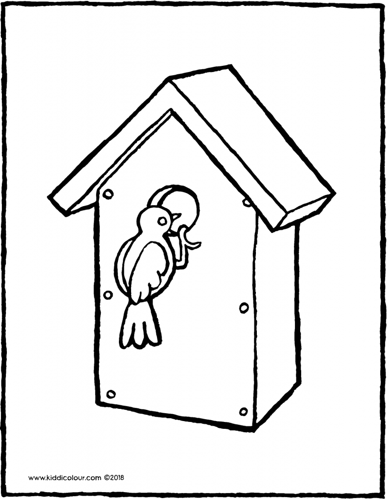 nesting box with bird colouring page drawing picture 01V