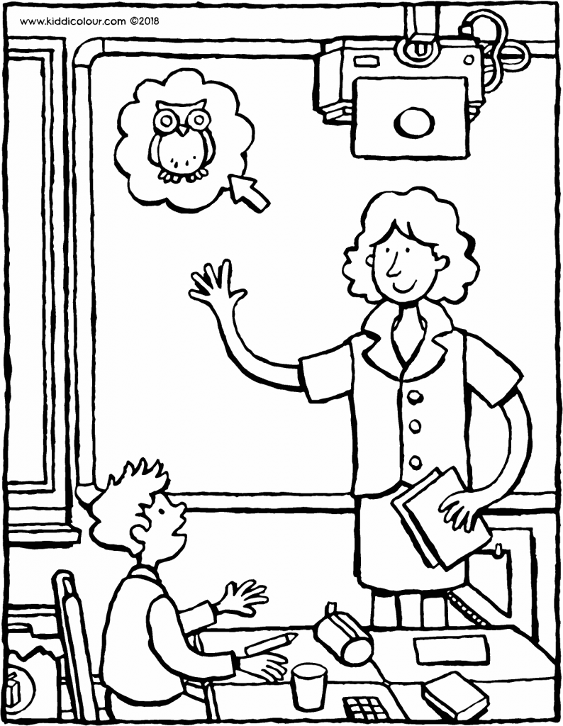 schoolteacher colouring page drawing picture 01V