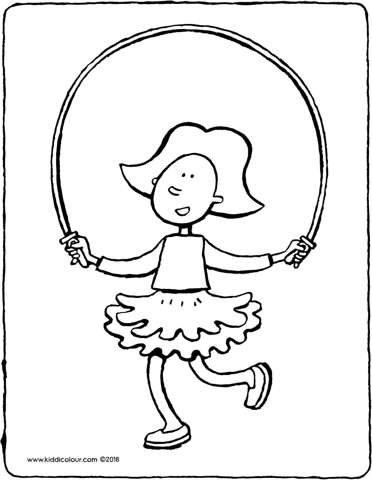 skipping with Emma colouring page drawing picture 01V