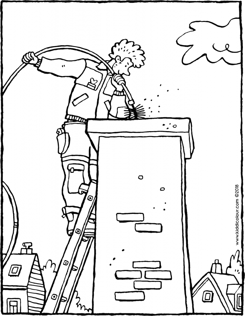 the chimney sweep colouring page drawing picture 01V