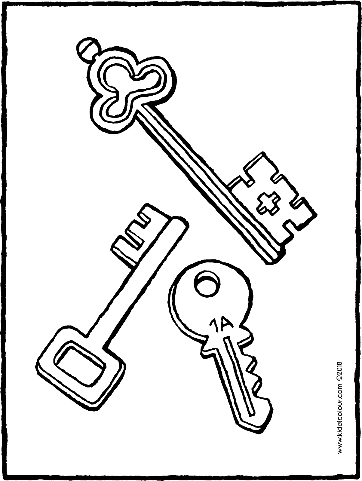 three keys colouring page drawing picture 01H