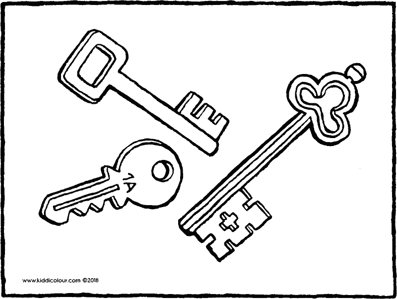 three keys colouring page drawing picture 01k