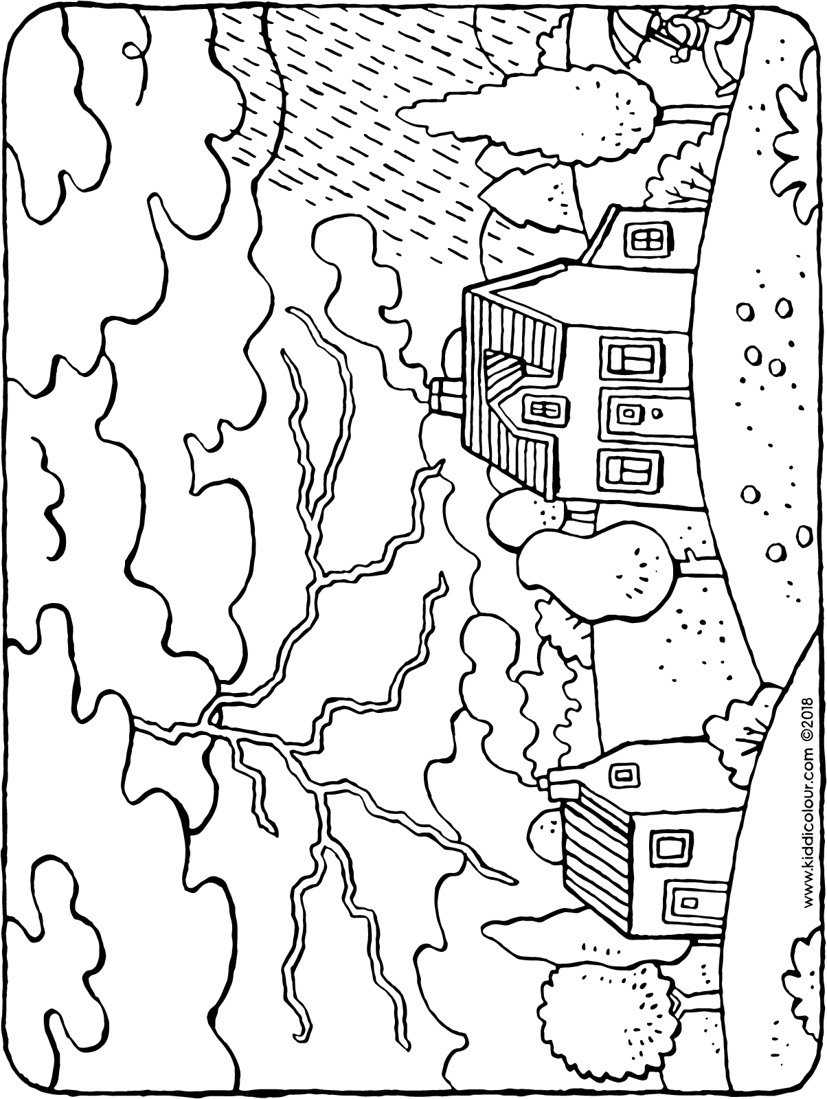 thunderstorm with thunder, lightening and rain colouring page drawing picture 01H