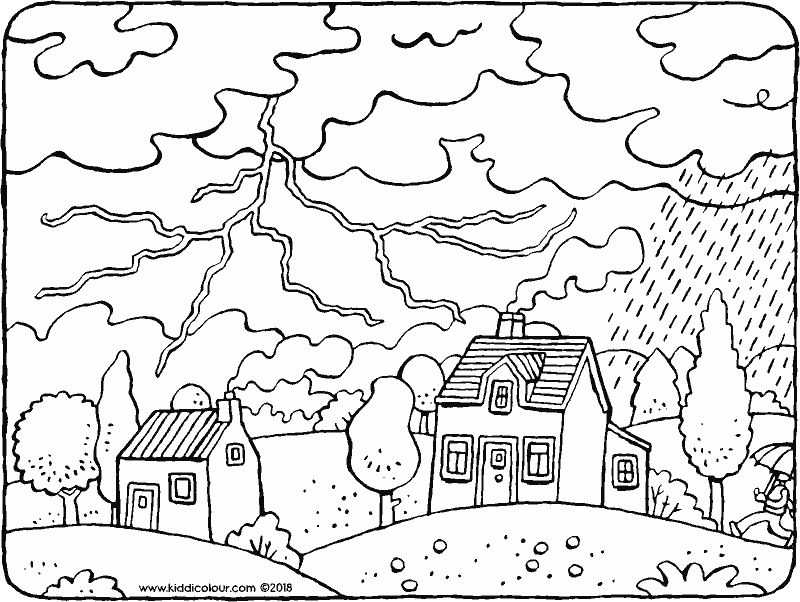 thunderstorm with thunder, lightening and rain colouring page drawing picture 01k