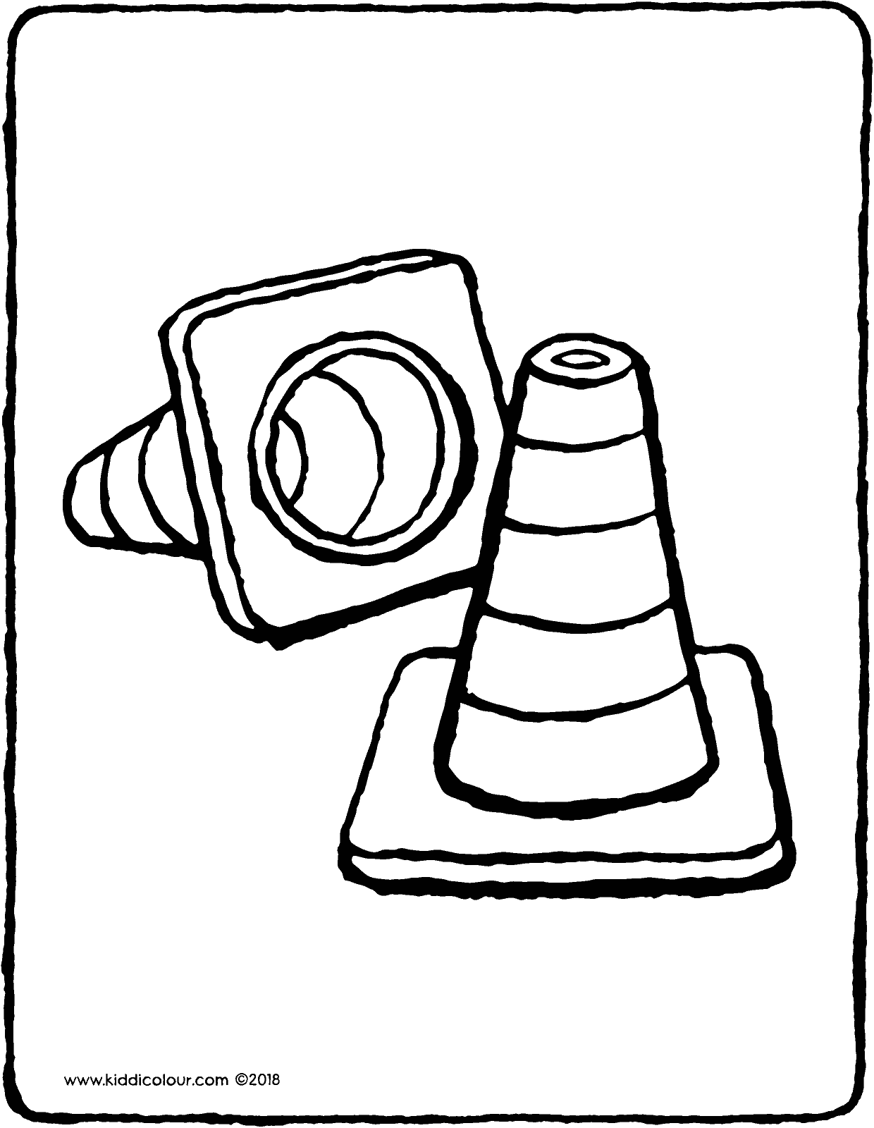 traffic cones colouring page drawing picture 01V