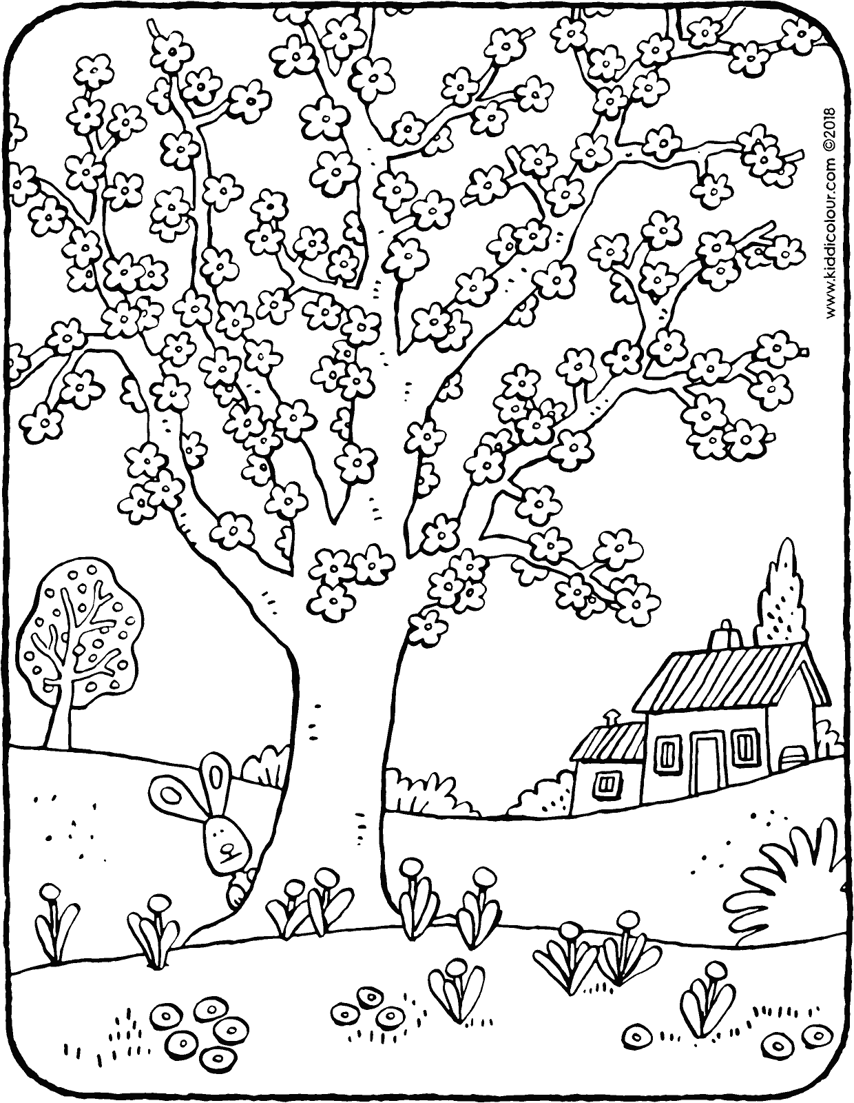 tree full of blossom colouring page drawing picture 01H