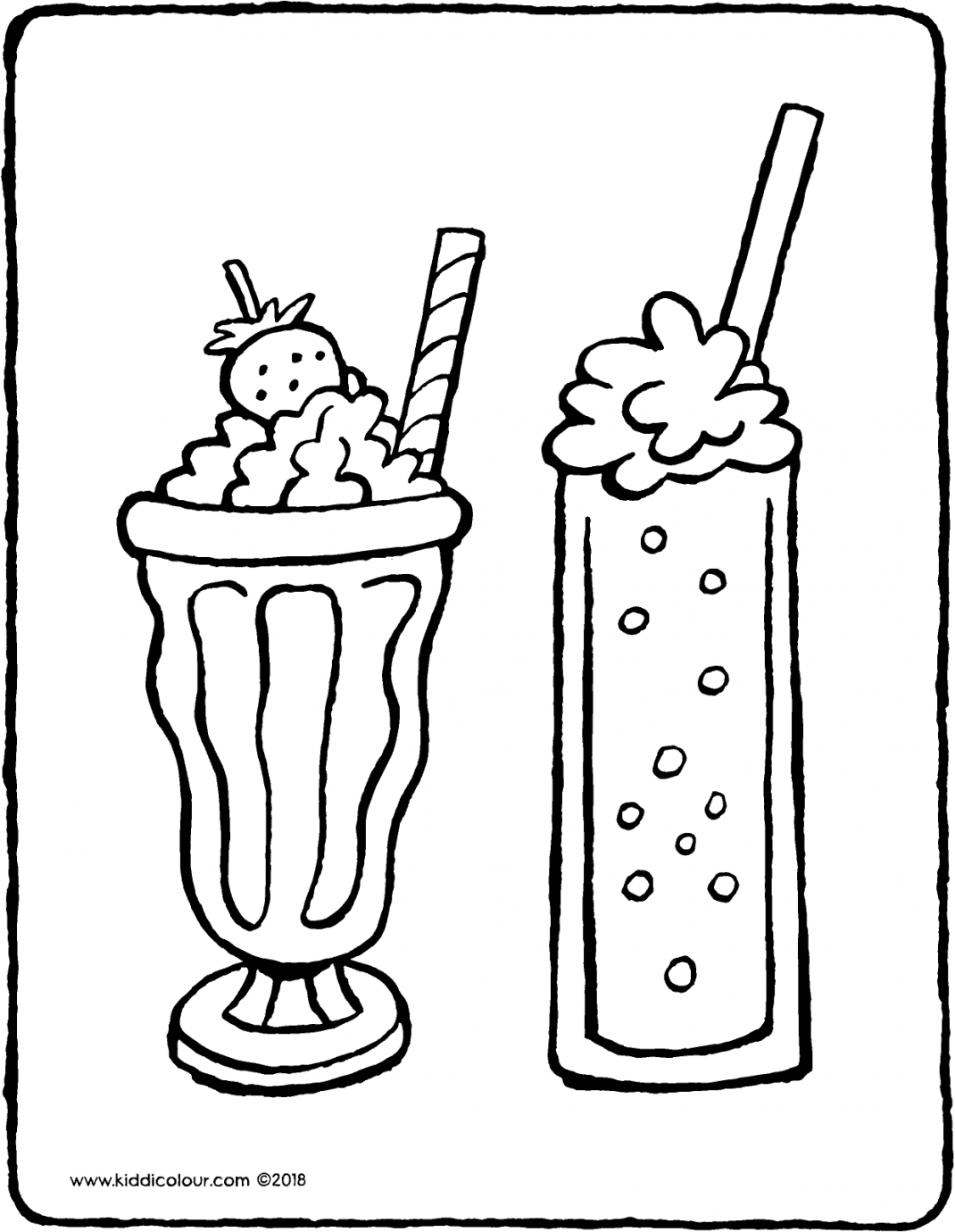 two milkshakes colouring page drawing picture 01V