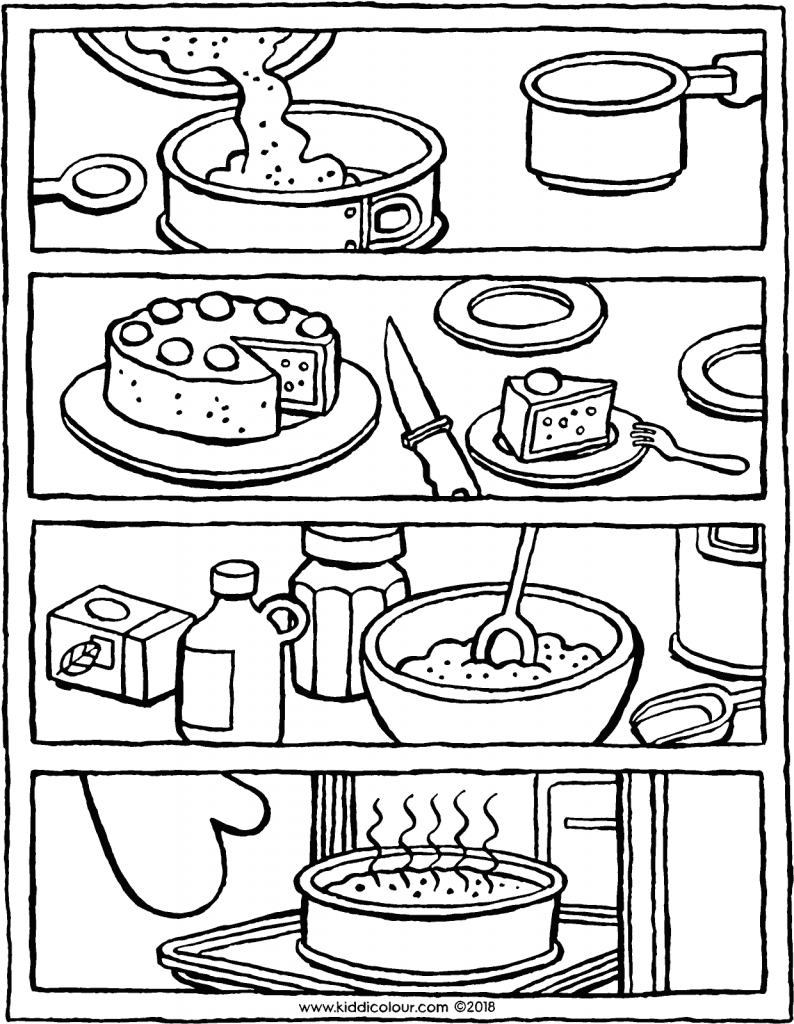 what do you do first when you're baking a cake colouring page drawing picture 01V