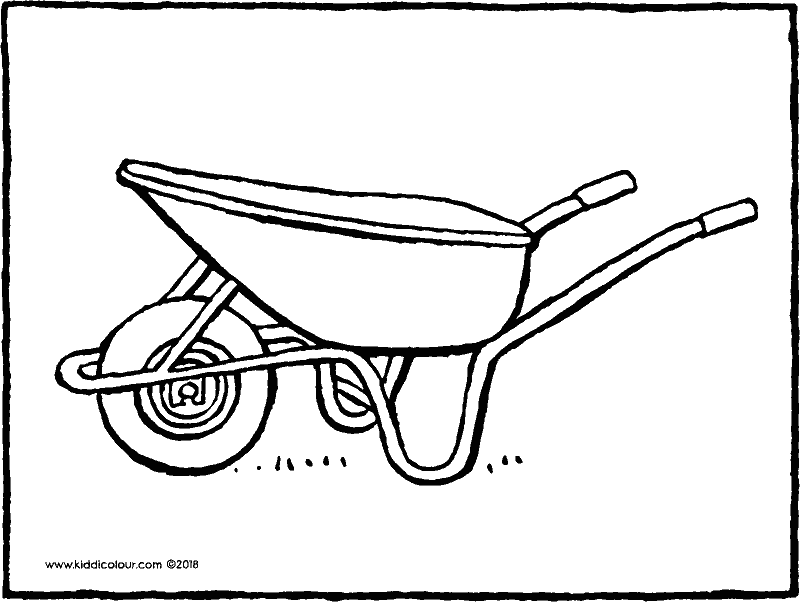wheelbarrow colouring page drawing picture 01k