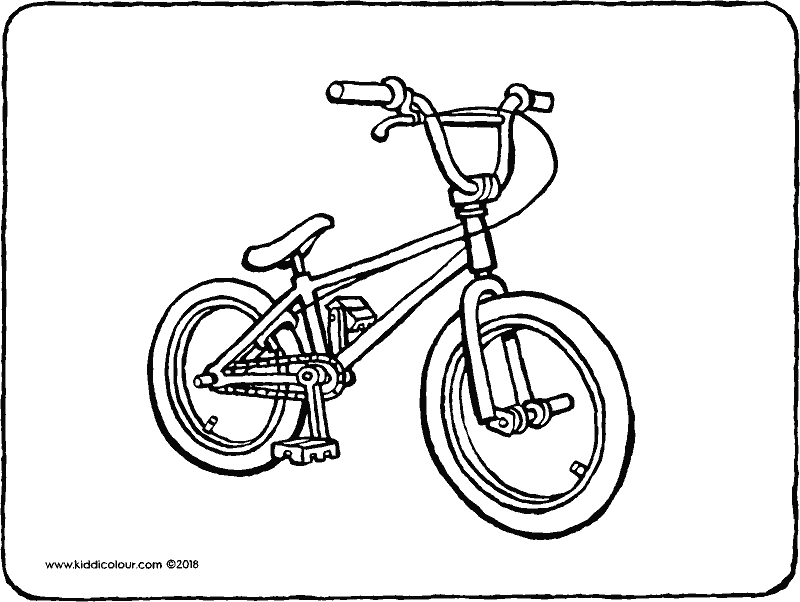 BMX bike colouring page drawing picture 01k