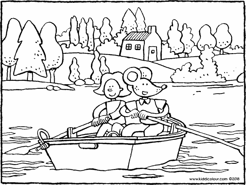 Emma and Thomas rowing in a rowing boat colouring page drawing picture 01k