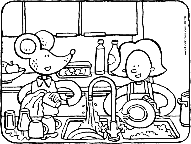 Emma and Thomas washing up colouring page drawing picture 01k