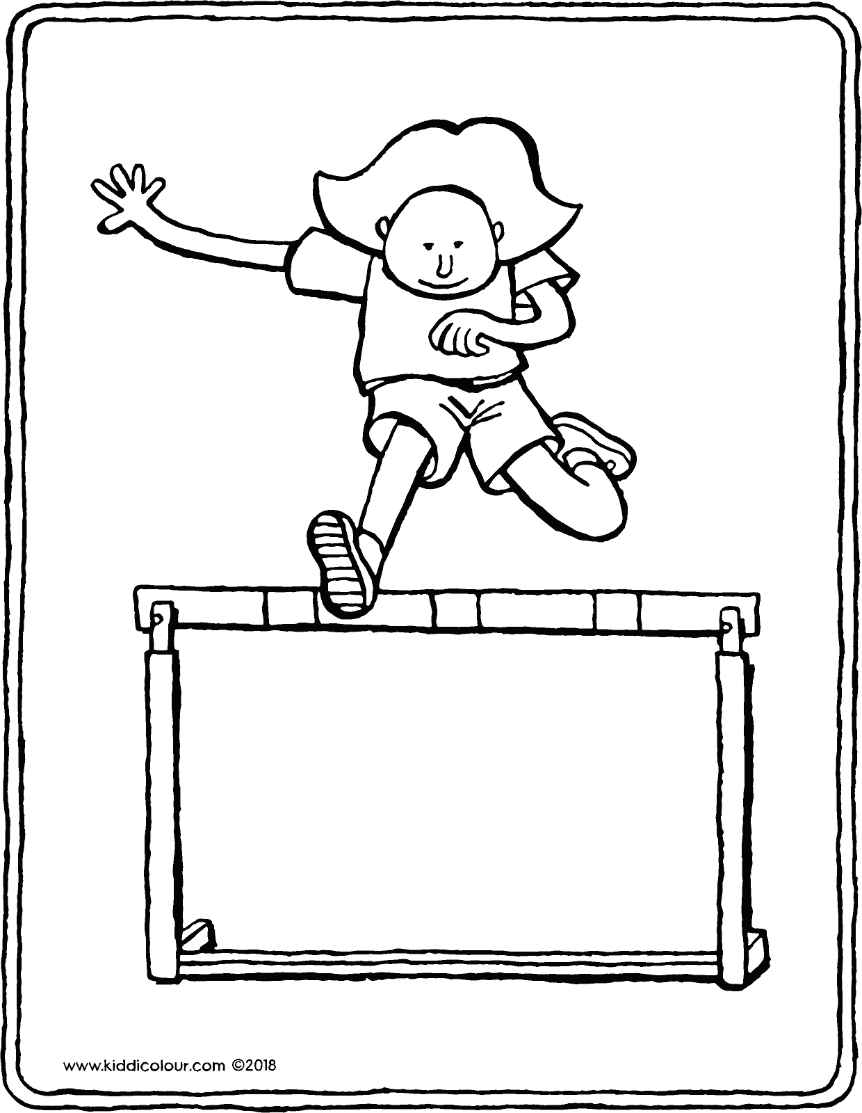 Emma jumping over a hurdle colouring page drawing picture 01V