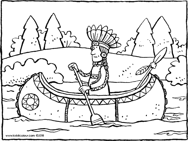 Indian in a canoe colouring page drawing picture 01k