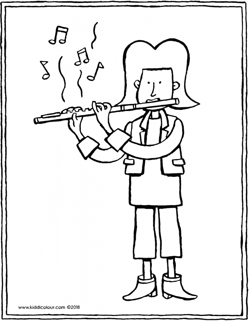 Mila plays the flute colouring page drawing picture 01V