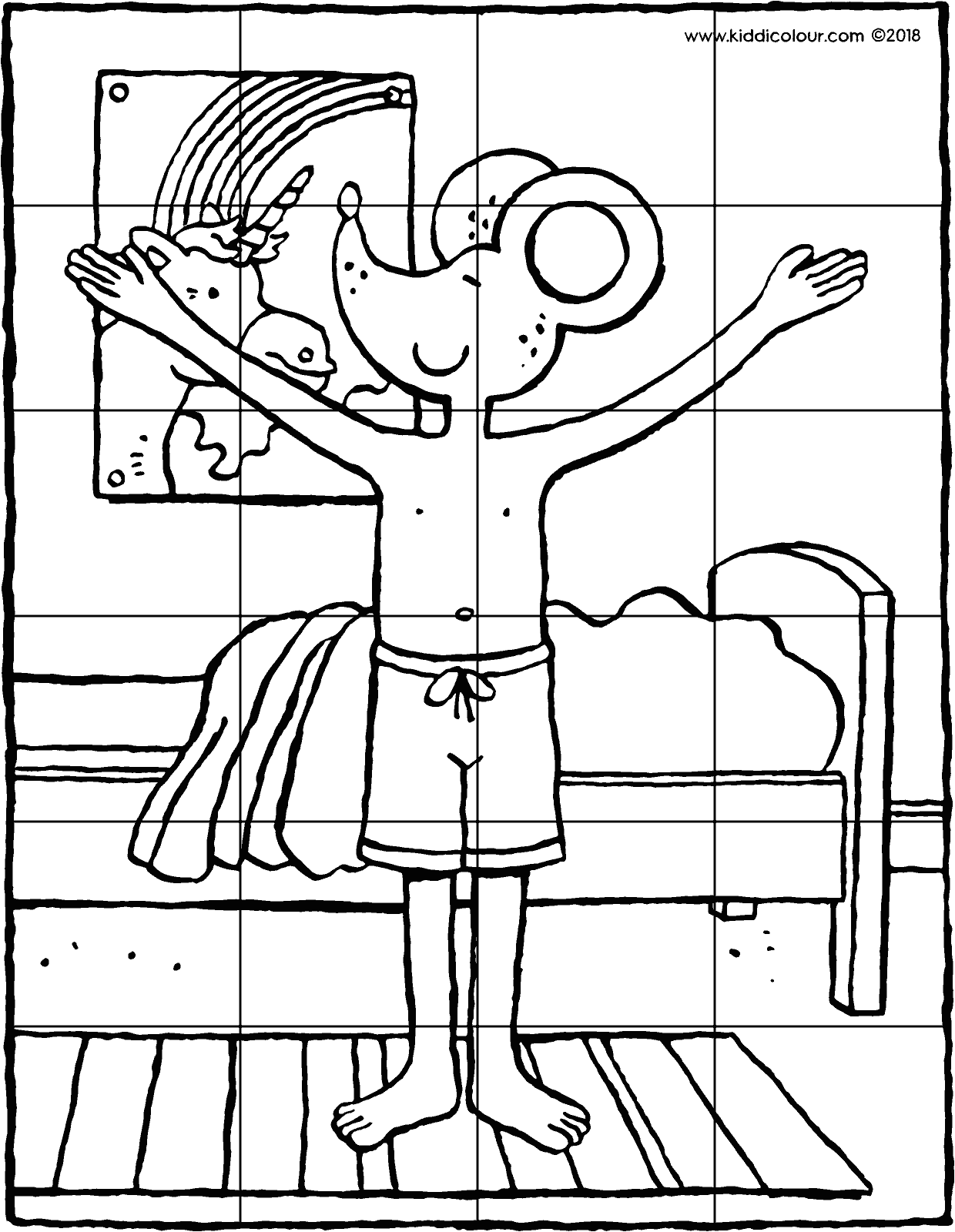 Thomas performing a sun salute puzzle 24 pieces colouring page drawing picture 01V
