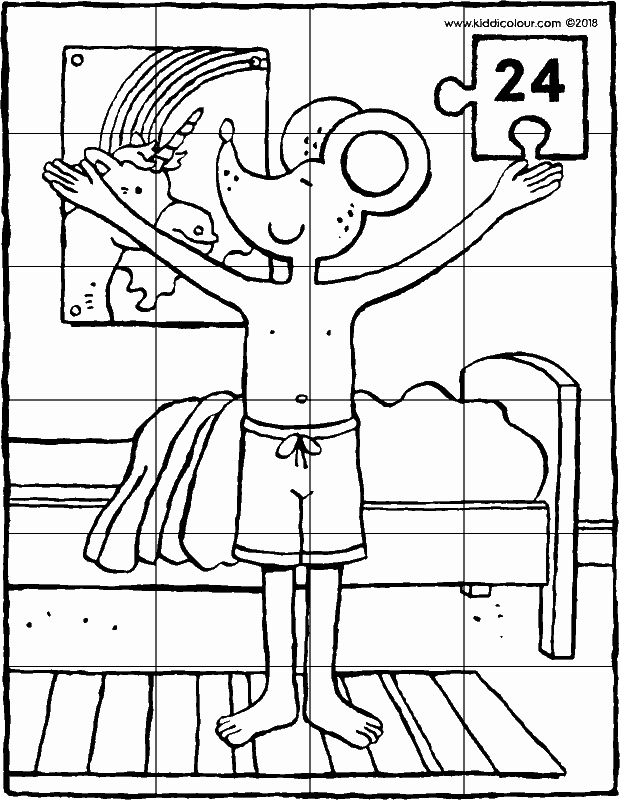 Thomas performing a sun salute puzzle 24 pieces colouring page drawing picture 01k