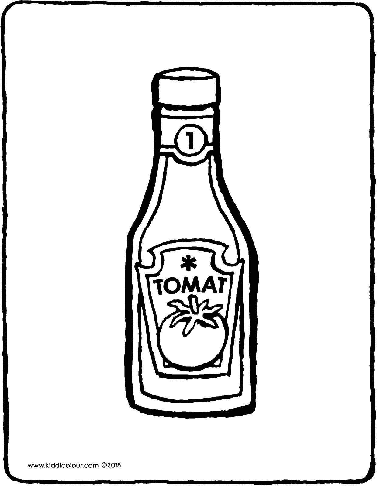 a bottle of ketchup colouring page drawing picture 01V