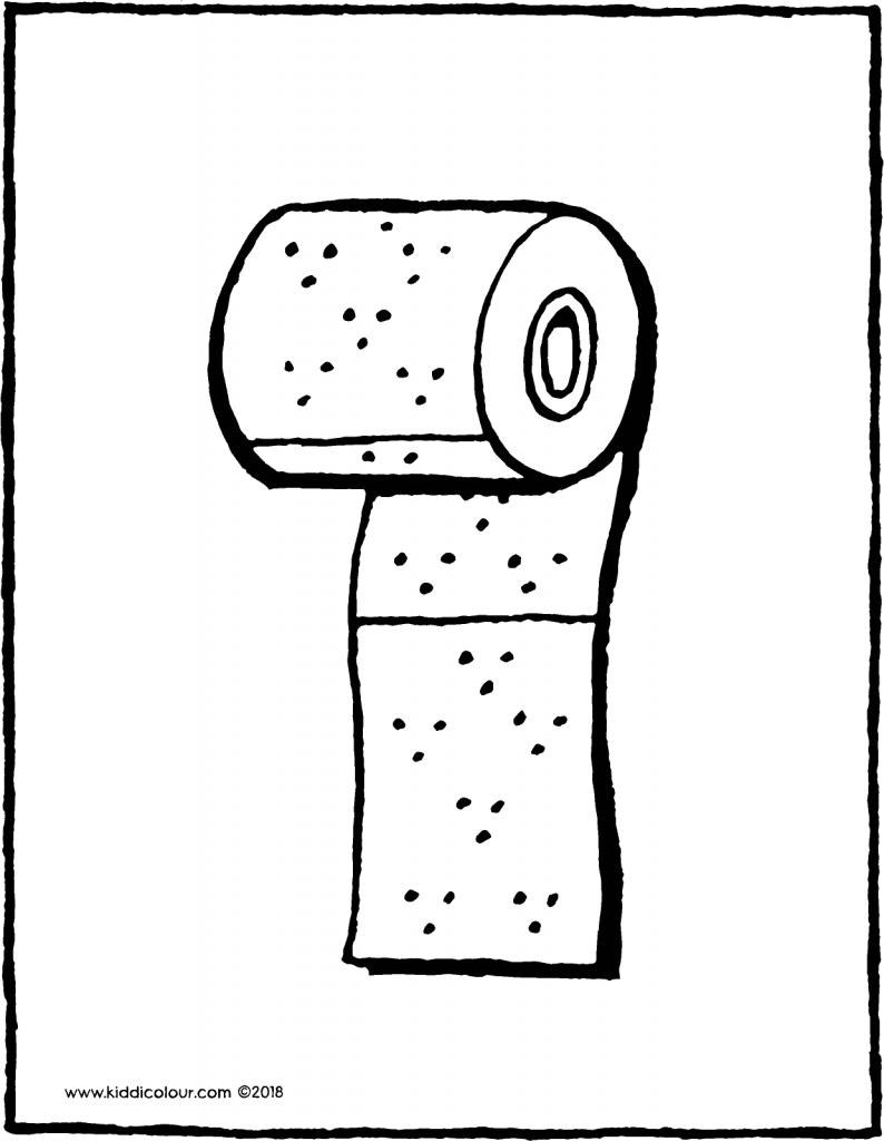 a roll of toilet paper colouring page drawing picture 01V