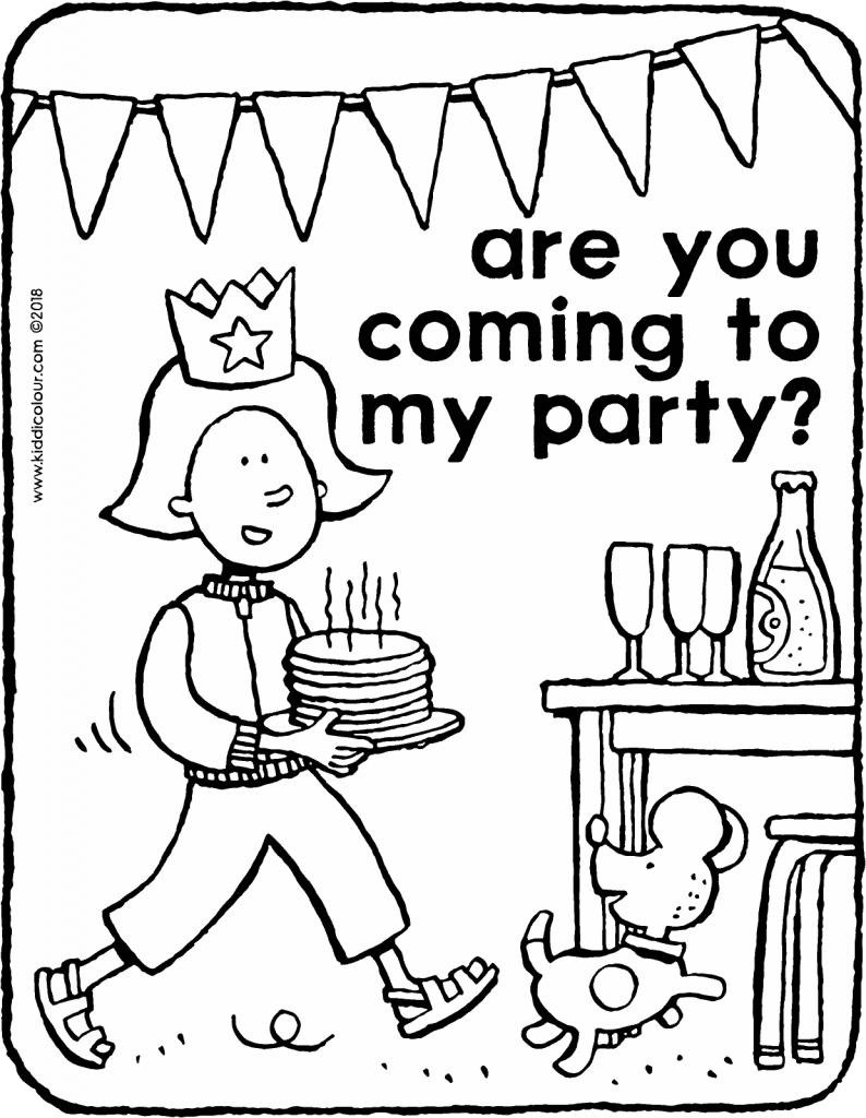 are you coming to my party colouring page drawing picture 01V