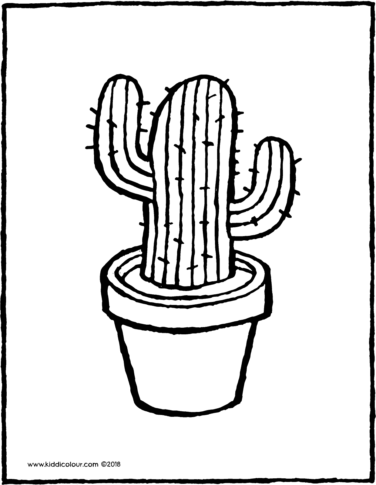 cactus colouring page drawing picture 01V