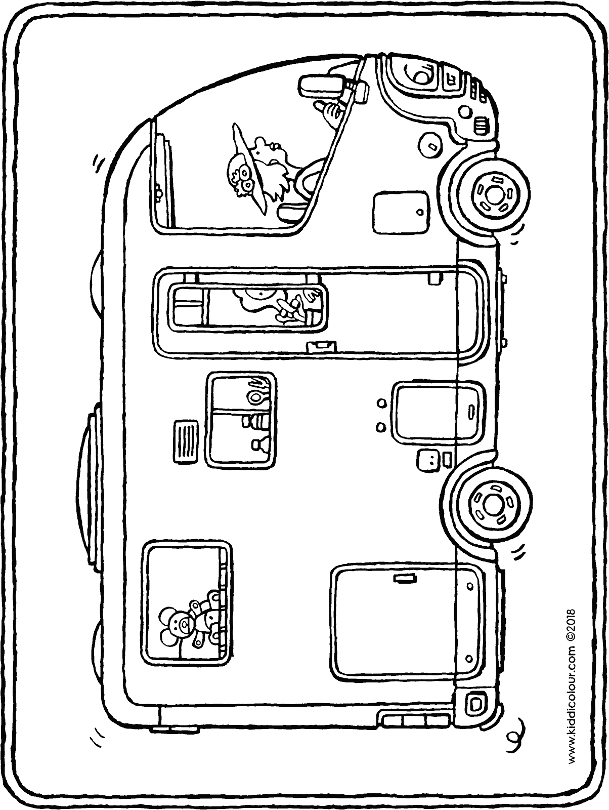 camper van colouring page drawing picture 01H